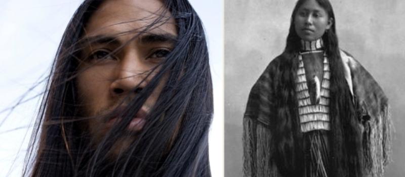 Natural Long Hair Native American Black Mix